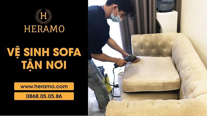 Dịch vụ giặt ghế sofa tại nhà Heramo
